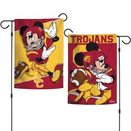 "USC Trojans / Disney MICKEY MOUSE FOOTBALL Garden Flags 2 sided 12.5"" x 18"""