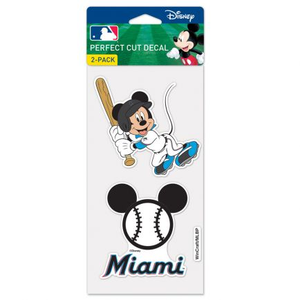 """Miami Marlins / Disney Mickey Mouse Perfect Cut Decal Set of Two 4""""x4"""""""