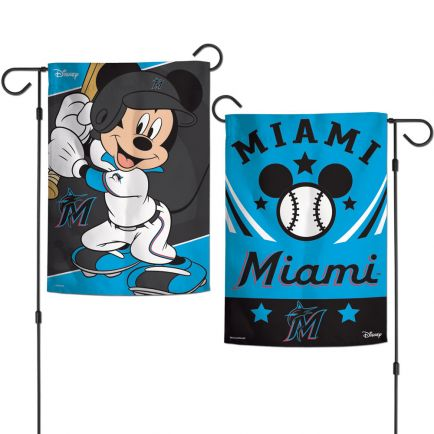 "Miami Marlins / Disney Mickey Mouse Garden Flags 2 sided 12.5"" x 18"""