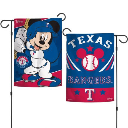 "Texas Rangers / Disney Mickey Mouse Garden Flags 2 sided 12.5"" x 18"""