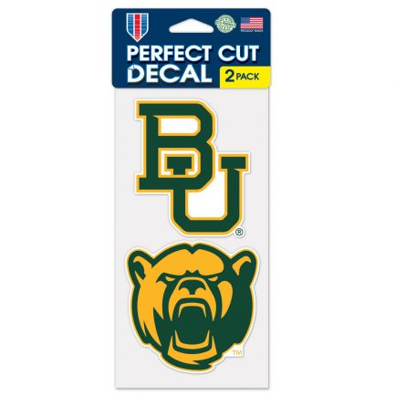 "Baylor Bears Perfect Cut Decal Set of two 4""x4"""
