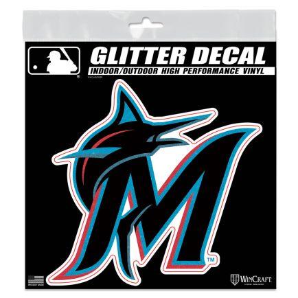 """Miami Marlins Decal Glitter 6"""" x 6"""""""
