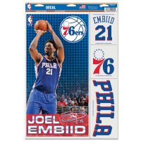 "Philadelphia 76ers Multi Use Decal 11"" x 17"" Joel Embiid"