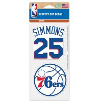 "Philadelphia 76ers Perfect Cut Decal Set of two 4""x4"" Ben Simmons"