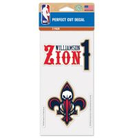 "New Orleans Pelicans Perfect Cut Decal Set of two 4""x4"" Zion Williamson"