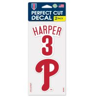 """Philadelphia Phillies Perfect Cut Decal Set of two 4""""x4"""" Bryce Harper"""