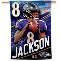 "Baltimore Ravens Vertical Flag 28"" x 40"" Lamar Jackson"