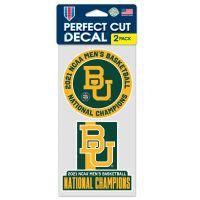 "NCAA Div I Basketball Champ Baylor Bears Mens Final Four Champ Baylor Perfect Cut Decal Set of two 4""x4"""