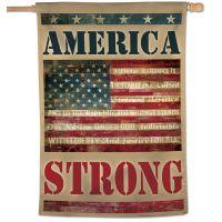 "Patriotic America Strong w/ Pledge of Allegiance Vertical Flag 28"" x 40"""