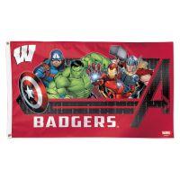 Wisconsin Badgers / Marvel (c) 2021 MARVEL Flag - Deluxe 3' X 5'