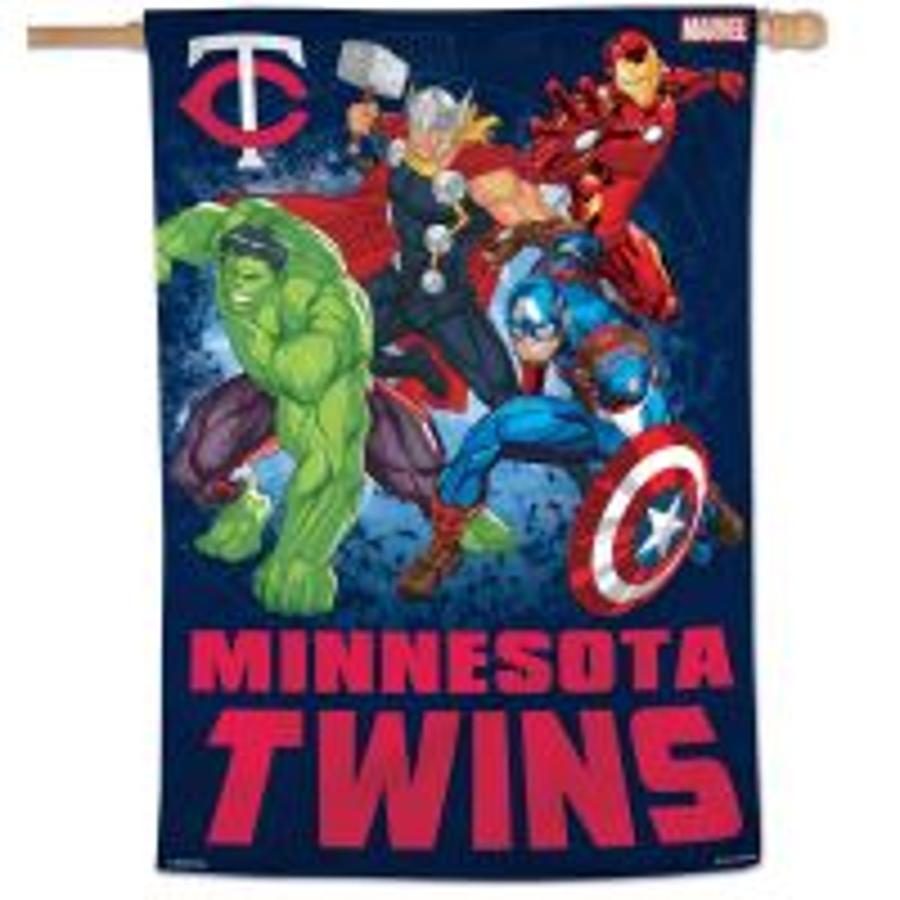 "Minnesota Twins / Marvel (c) 2021 MARVEL Vertical Flag 28"" x 40"""