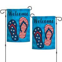 """Patriotic FLIP FLOPS Garden Flags 2 sided 12.5"""" x 18"""""""