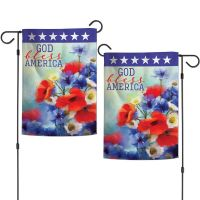 """Patriotic GOD BLESS AMERICA Garden Flags 2 sided 12.5"""" x 18"""""""