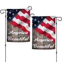"""Patriotic AMERICA THE BEAUTIFUL Garden Flags 2 sided 12.5"""" x 18"""""""