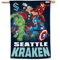 """Seattle Kraken / Marvel (c) 2021 MARVEL Vertical Flag 28"""" x 40"""""""