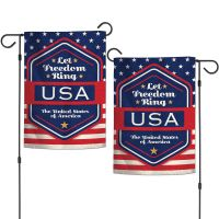 """Patriotic LET FREEDOM RING Garden Flags 2 sided 12.5"""" x 18"""""""