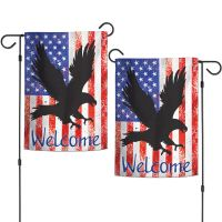 """Patriotic BLACK EAGLE Garden Flags 2 sided 12.5"""" x 18"""""""