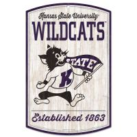 """Kansas State Wildcats / Vintage Collegiate Wood Sign 11"""" x 17"""" 1/4"""" thick"""