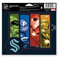"Seattle Kraken / Marvel (c) 2021 MARVEL Multi-Use Decal - cut to logo 5"" x 6"""