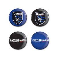 "San Jose Earthquakes logos/wordmark Button 4 Pack 1 1/4"" Rnd"