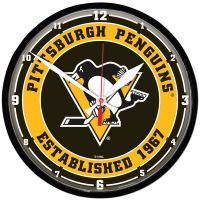 """Pittsburgh Penguins Round Wall Clock 12.75"""""""