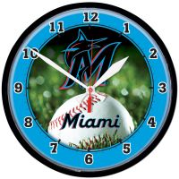Miami Marlins Round Wall Clock 12.75""
