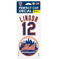 """New York Mets Perfect Cut Decal Set of two 4""""x4"""" Francisco Lindor"""