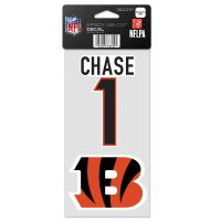 """Cincinnati Bengals Perfect Cut Decal One 4""""x8"""" Decal Ja'Marr Chase"""