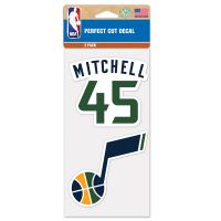 "Utah Jazz Perfect Cut Decal Set of Two 4""x4"" Donovan Mitchell"