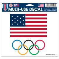 """USOC Olympic Rings Multi-Use Decal -Clear Bckrgd 5"""" x 6"""""""