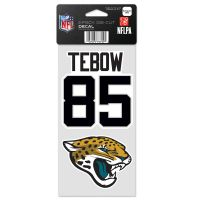 """Jacksonville Jaguars Perfect Cut Decal Set of two 4""""x4"""" Tim Tebow"""
