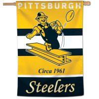 "Pittsburgh Steelers / Classic Logo Retro Vertical Flag 28"" x 40"""
