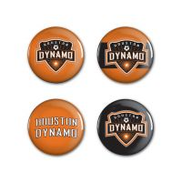 "Houston Dynamo Logo and Wordmark Button 4 Pack 1 1/4"" Rnd"