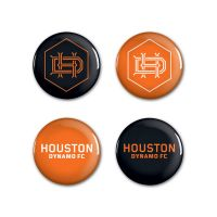 """Houston Dynamo Button 4 Pack 1 1/4"""" Rnd"""