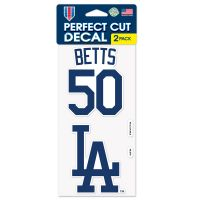 """Los Angeles Dodgers Perfect Cut Decal Set of two 4""""x4"""" Mookie Betts"""
