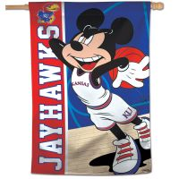 "Kansas Jayhawks / Disney MICKEY BASKETBALL Vertical Flag 28"" x 40"""