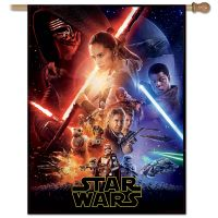 """New Trilogy / New Trilogy FORCE AWAKENS Vertical Flag 28"""" x 40"""" Poster Collage"""
