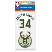 "Milwaukee Bucks Perfect Cut Decal Set of two 4""x4"" Giannis Antetokounmpo"
