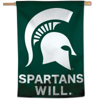 "Michigan State Spartans SPARTANS WILL Vertical Flag 28"" x 40"""