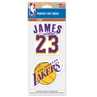 "Los Angeles Lakers Perfect Cut Decal Set of Two 4""x4"" LeBron James"